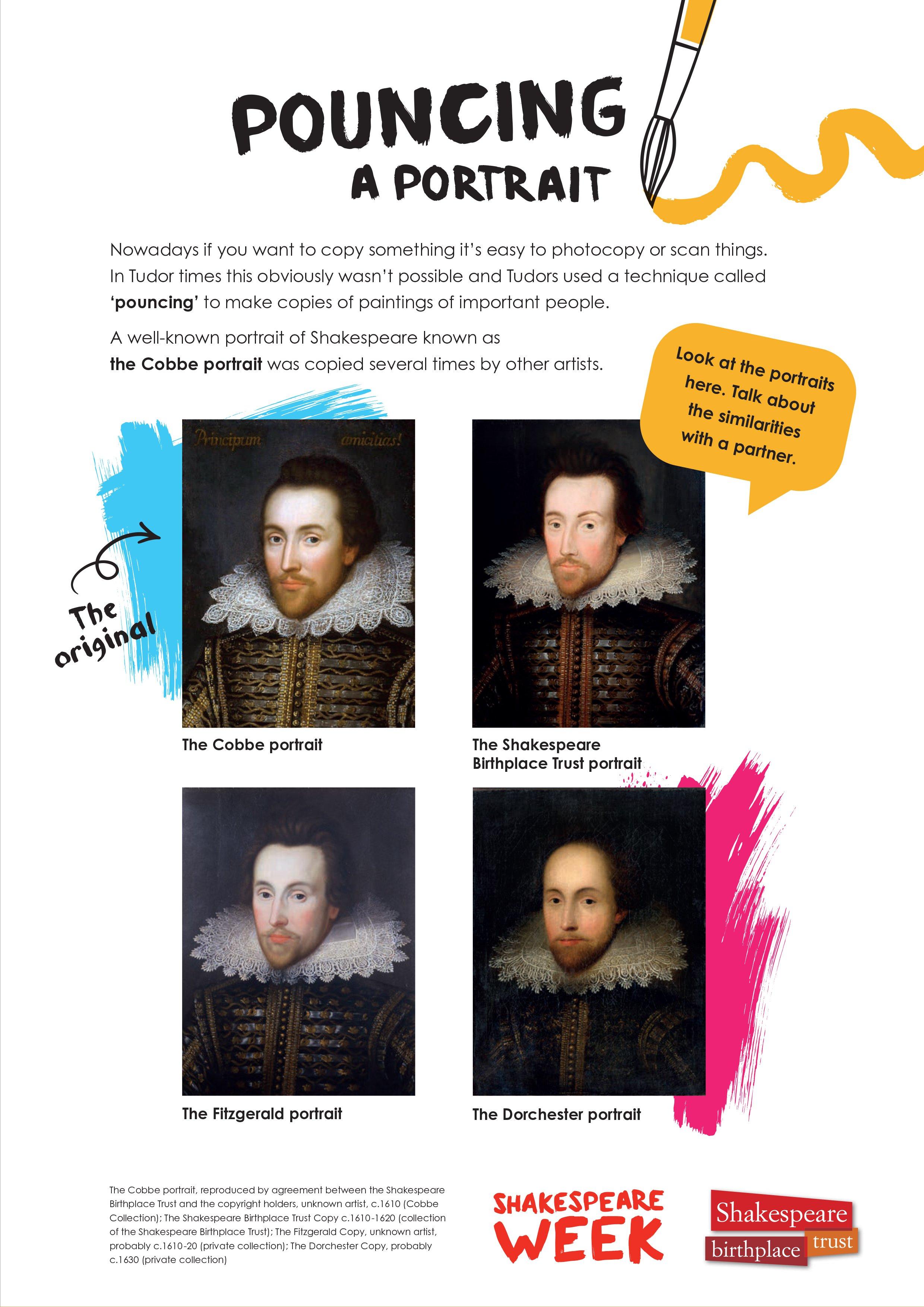 Pouncing a Shakespeare portrait