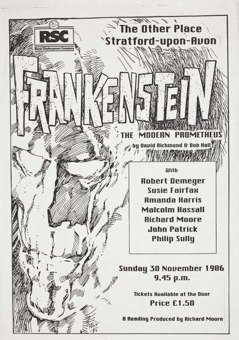 Programme for Frankenstein performed at the RSC in 1986