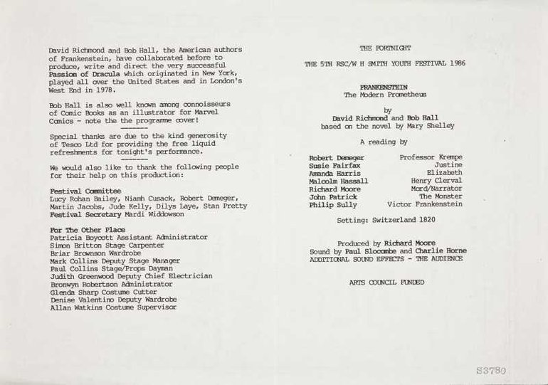 Programme for Frankenstein performed at the RSC in 1986 (verso)