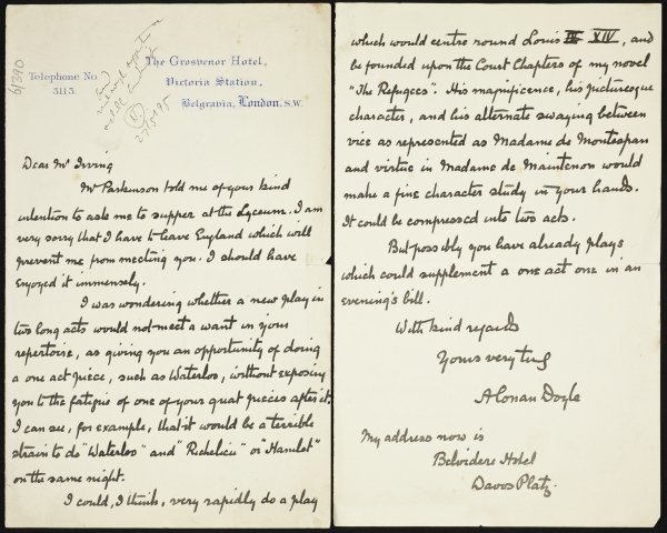 Bram Stoker collection Conan Doyle letter