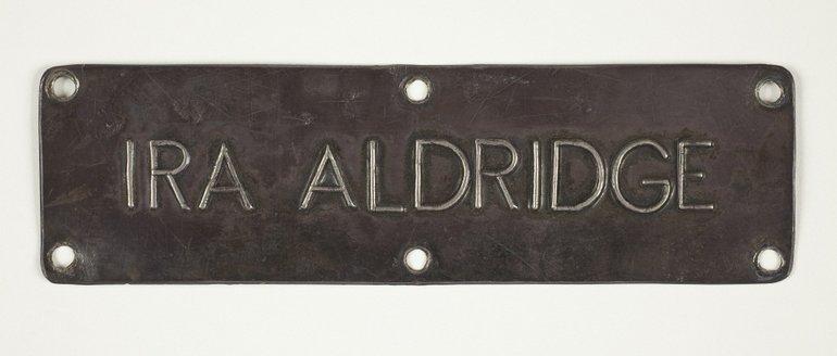Original Ira Aldridge chair plaque from the Shakespeare Memorial Theatre