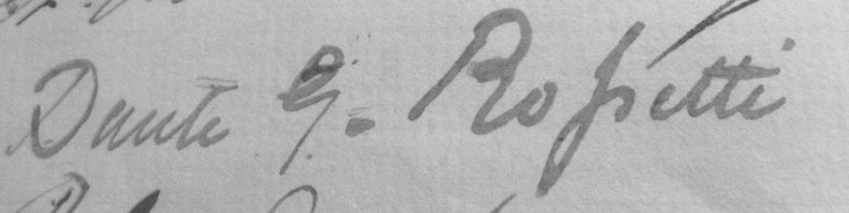 The signature of Rossetti when he paid his first visit to the Birthplace on the 12th July 1853.
