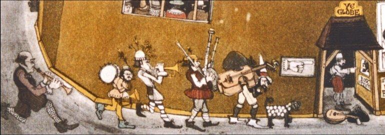 Cartoon at the Globe Theatre