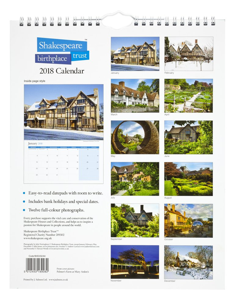 back cover birthplace calendar 2018