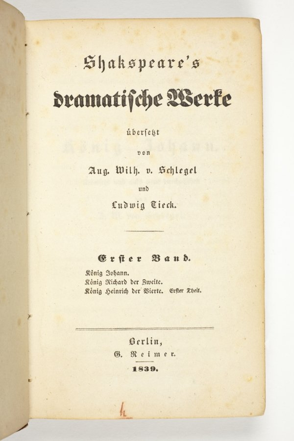 Title page Schlegel Tieck translation