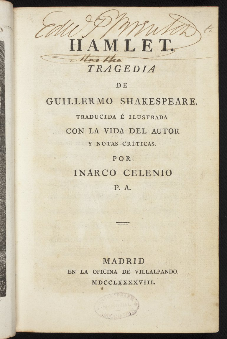 Spanish Hamlet (1798) Title page
