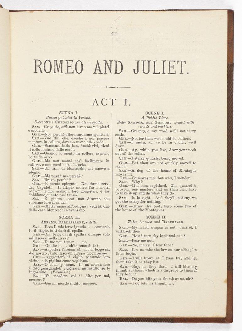 Romeo and Juliet in Italian, 1876, act 1, scene 1
