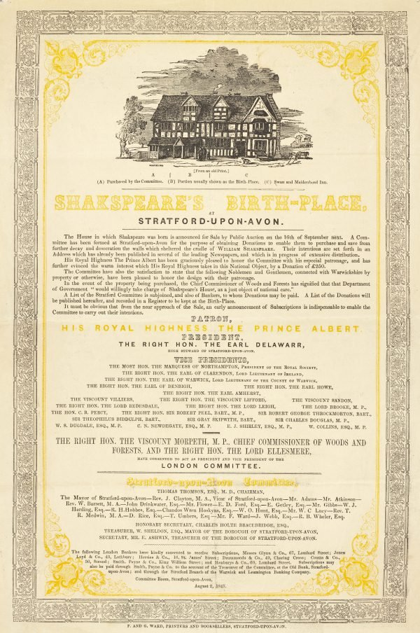 DR1014/2 Shakespeare's Birthplace Fundraising Poster, 1847