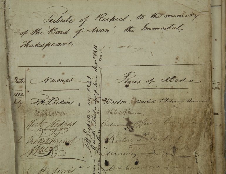 T H Perkins in the 1812 visitor book
