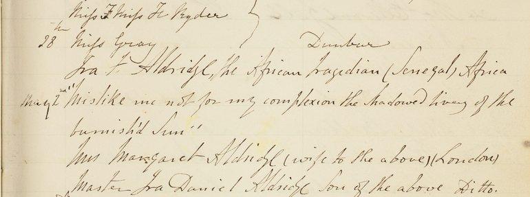 Ira Aldridge's entry in the Birthplace Visitors book 1851