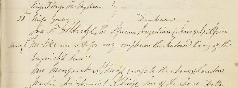 Ira Aldridge entry in the Birthplace Visitor Book 1851