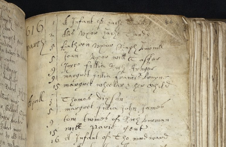 The burial record of the unfortunate Margaret Wheeler and her baby on 15 March, 1616.