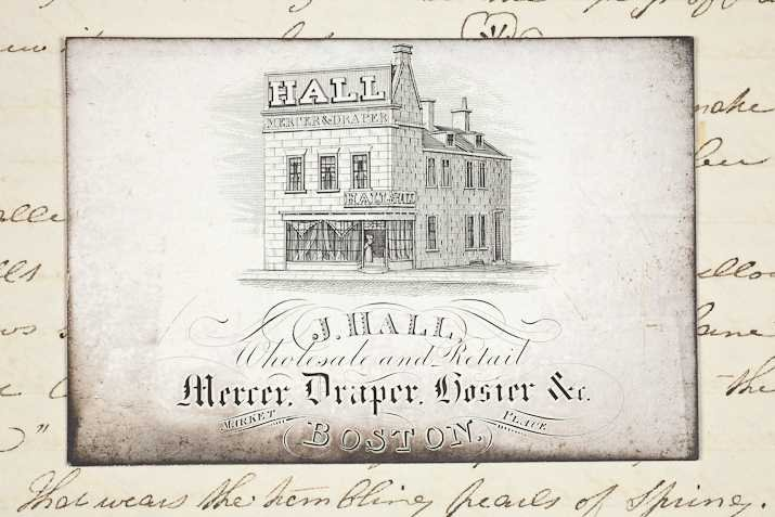 Jane Thompson's Diary 26 March 1840 Business card