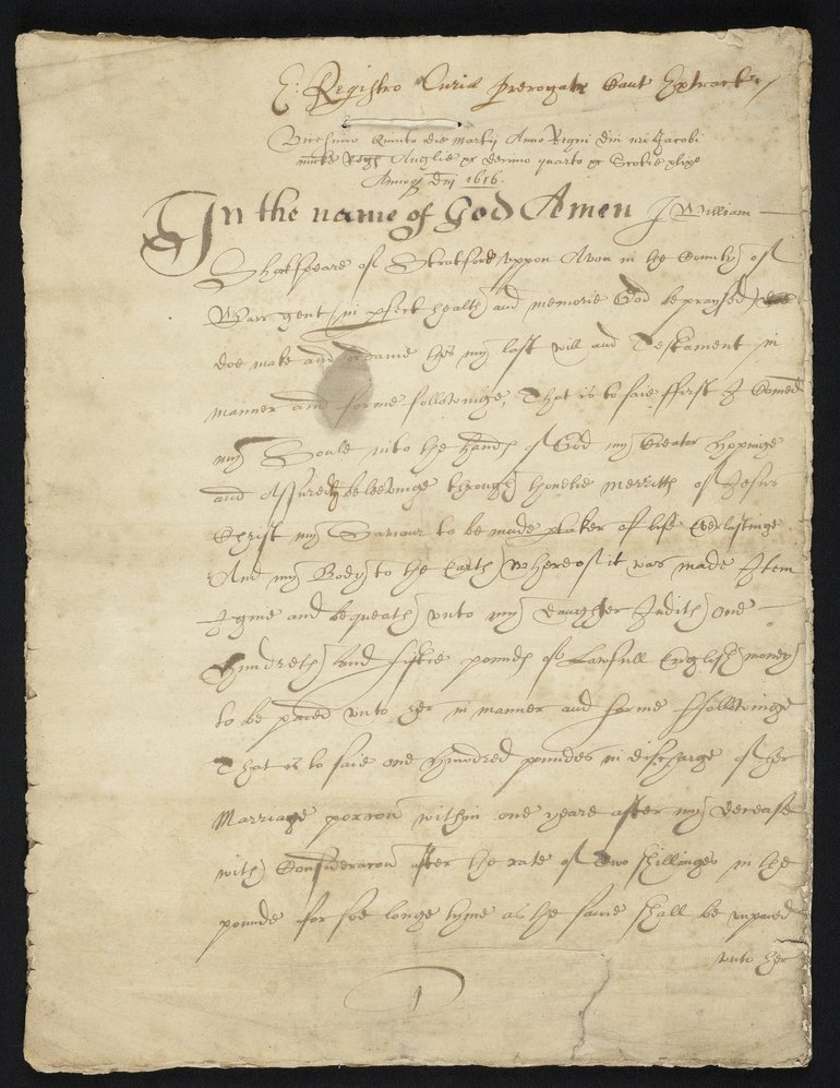Early copy of Shakespeare's will, sheet 1