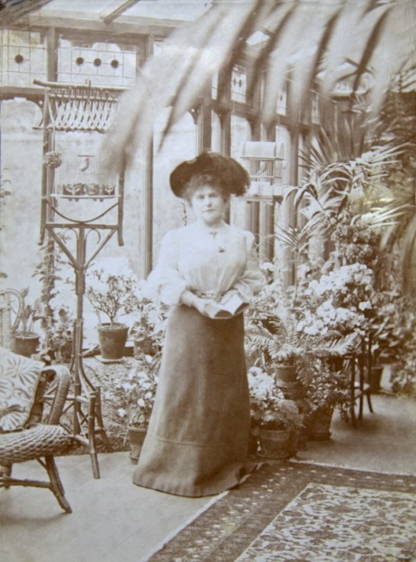 Marie Corelli in her conservatory