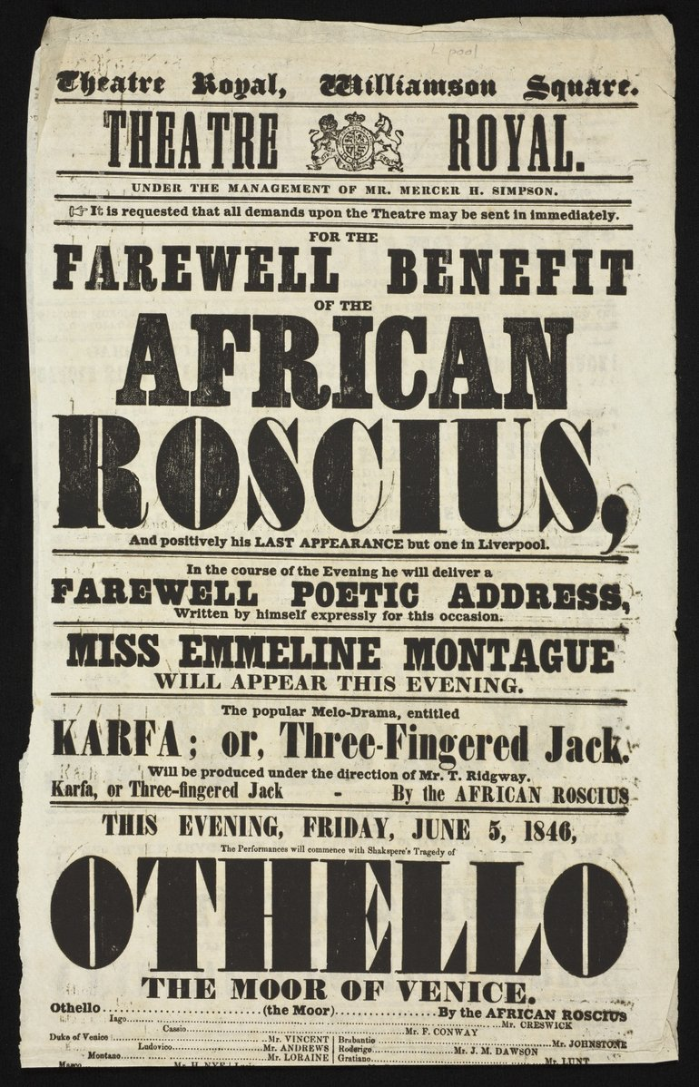 1846 Othello Playbill featuring Ira Aldridge