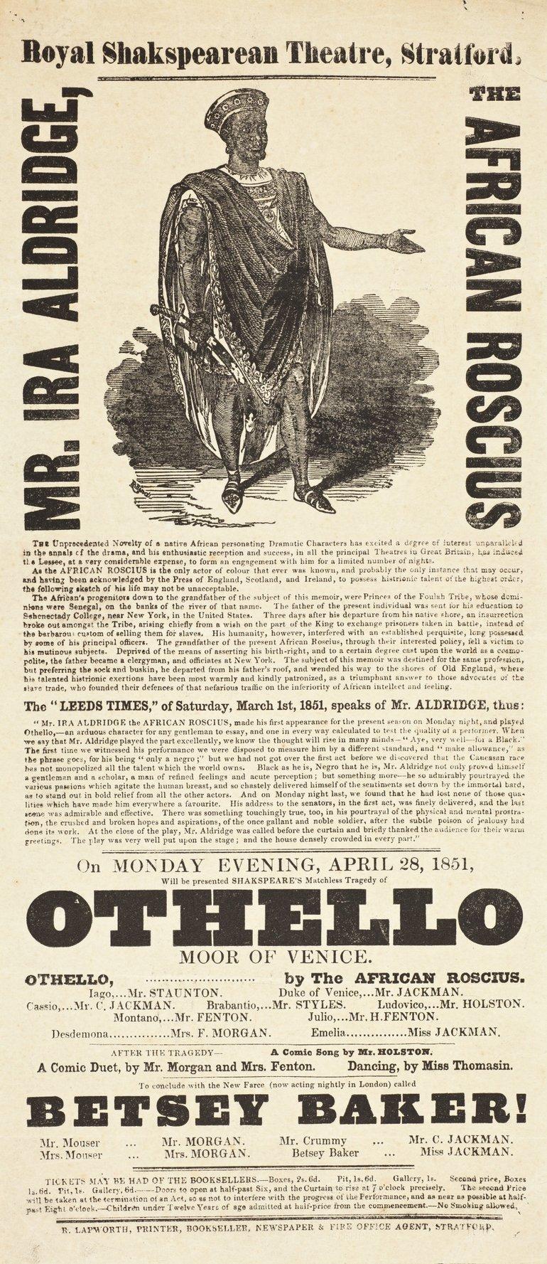 Othello playbill 1851
