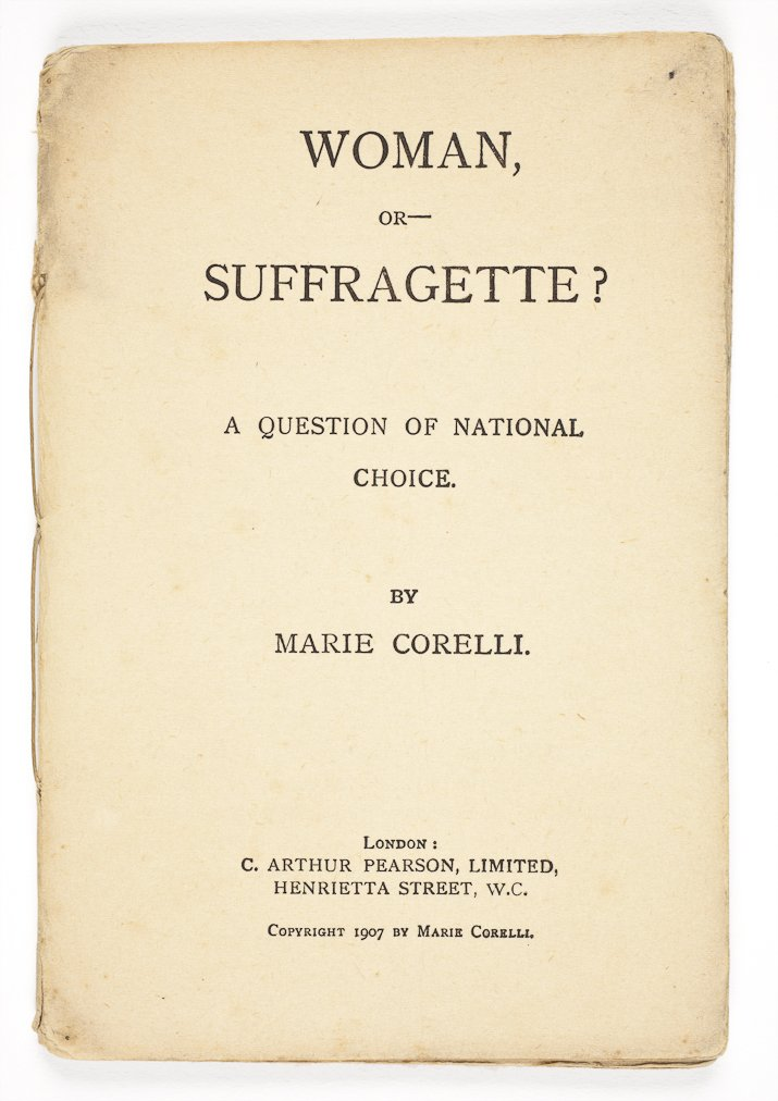 Woman or Suffragette?, pamphlet by Marie Corelli (pamphlet 95.1 Corelli/83385118)