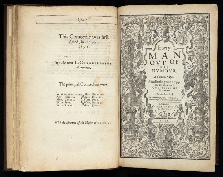 Ben Jonson's folio collection of plays, 1616.