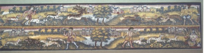 A late 16th/early 17th century Sheldon tapestry border, from the Shakespeare Birthplace Trust Collections.