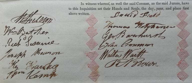 Signatures on the inquest document