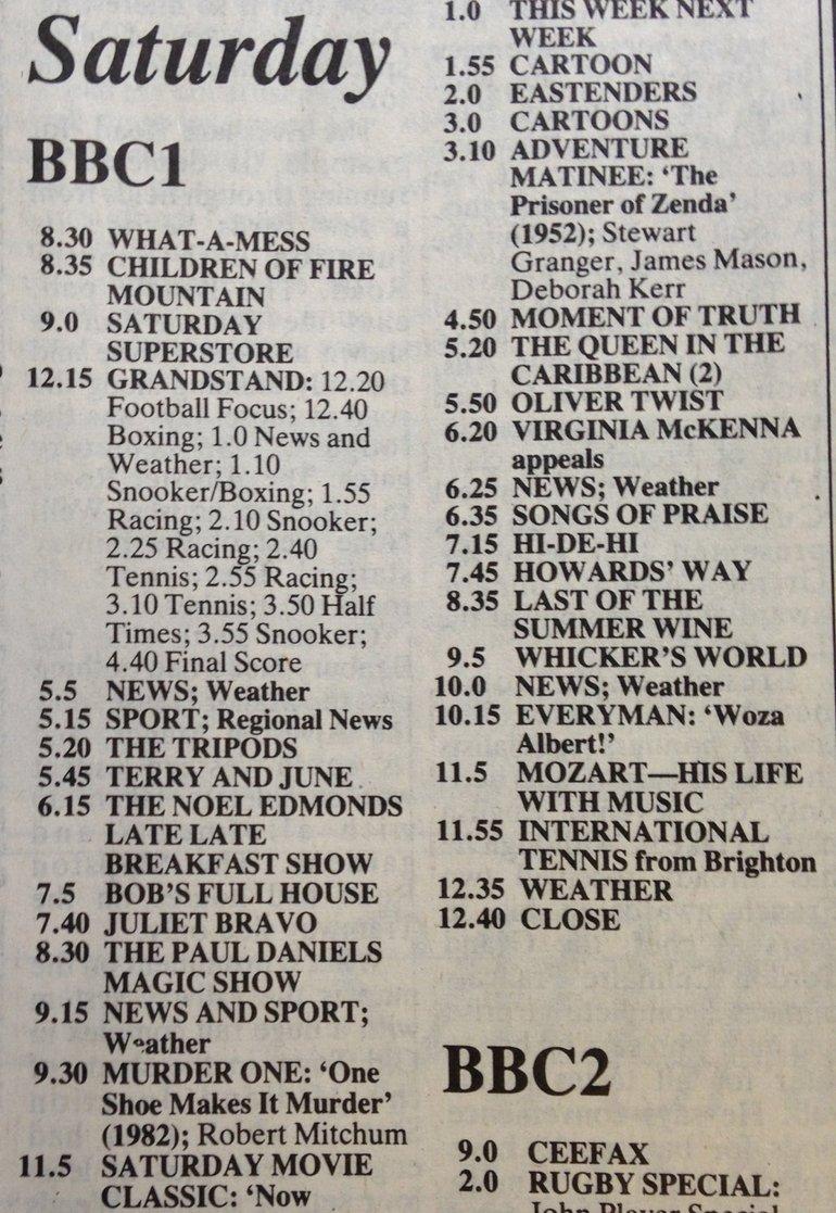 TV listings 1985