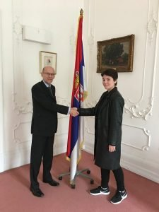 Tara and the Serbian Ambassador at the Serbian Embassy, London