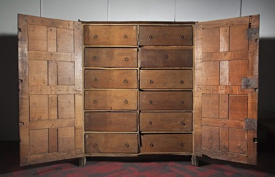 The 'Cubborde of Boxes'. A late 16th-century oak cupboard made to store the Stratford Corporation Records in 1594;