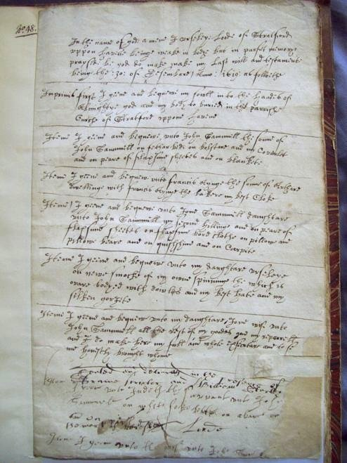The will of Ursula Loode, a widow in Stratford-upon-Avon, dated 1619. The Shakespeare Birthplace Trust's Archive Collection.
