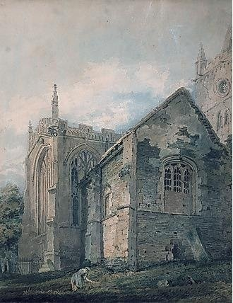 Thomas Girtin watercolour of 'The Old Charnel House' Holy Trinity Church, Stratford-upon-Avon, about 1799 [STRST SBT 1939-25]
