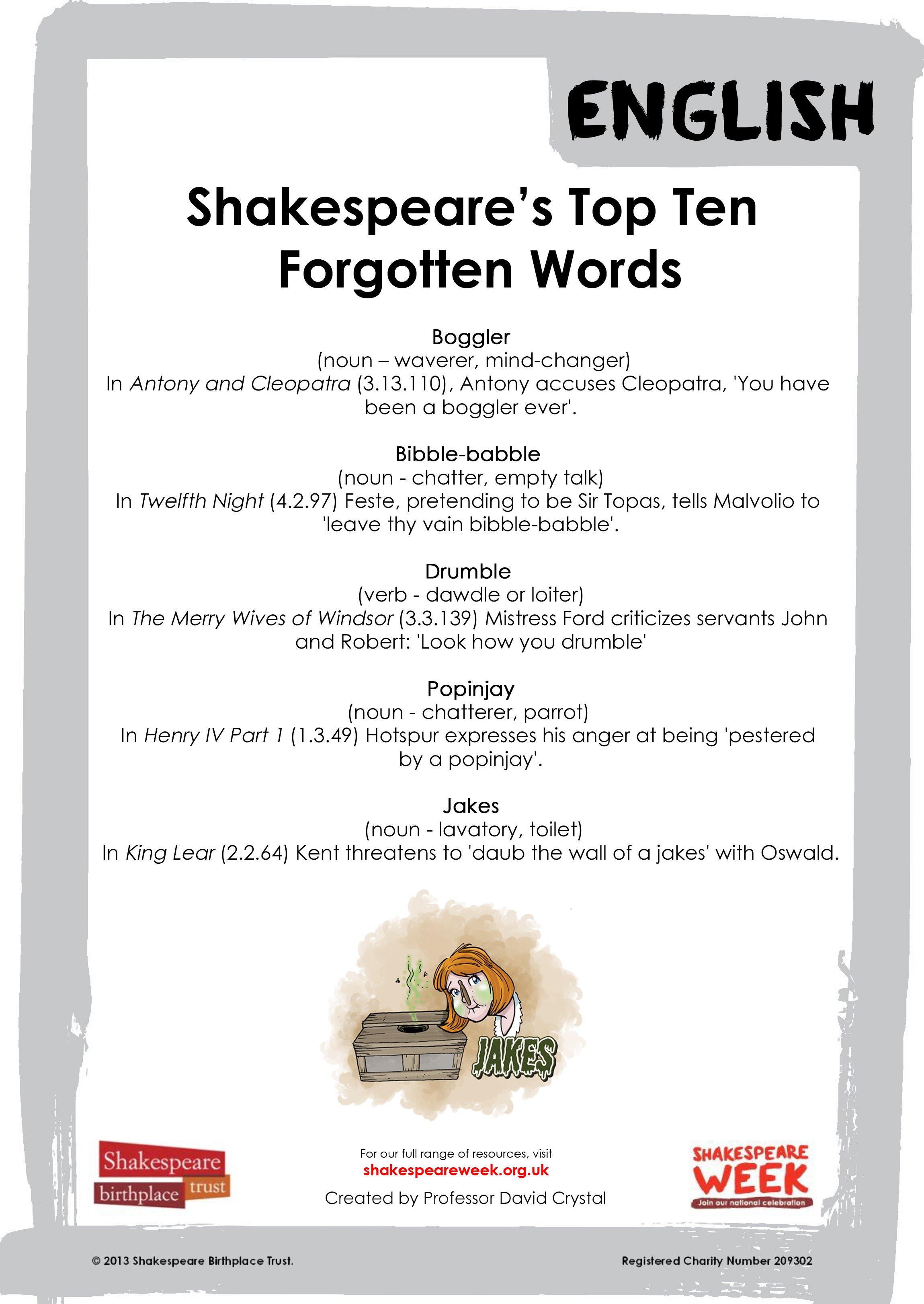 Top Ten Forgotten Words