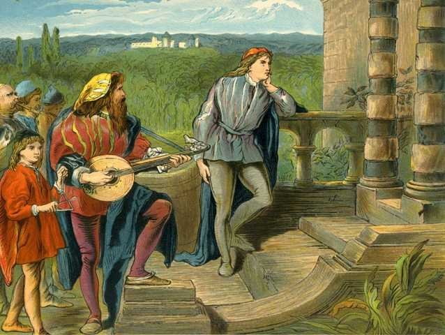 """The musician sings in The Two Gentlemen of Verona"", Two Gentlemen of Verona, Gilbert, 1865"