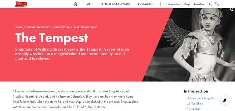 Shakespeare's Plays Tempest Page
