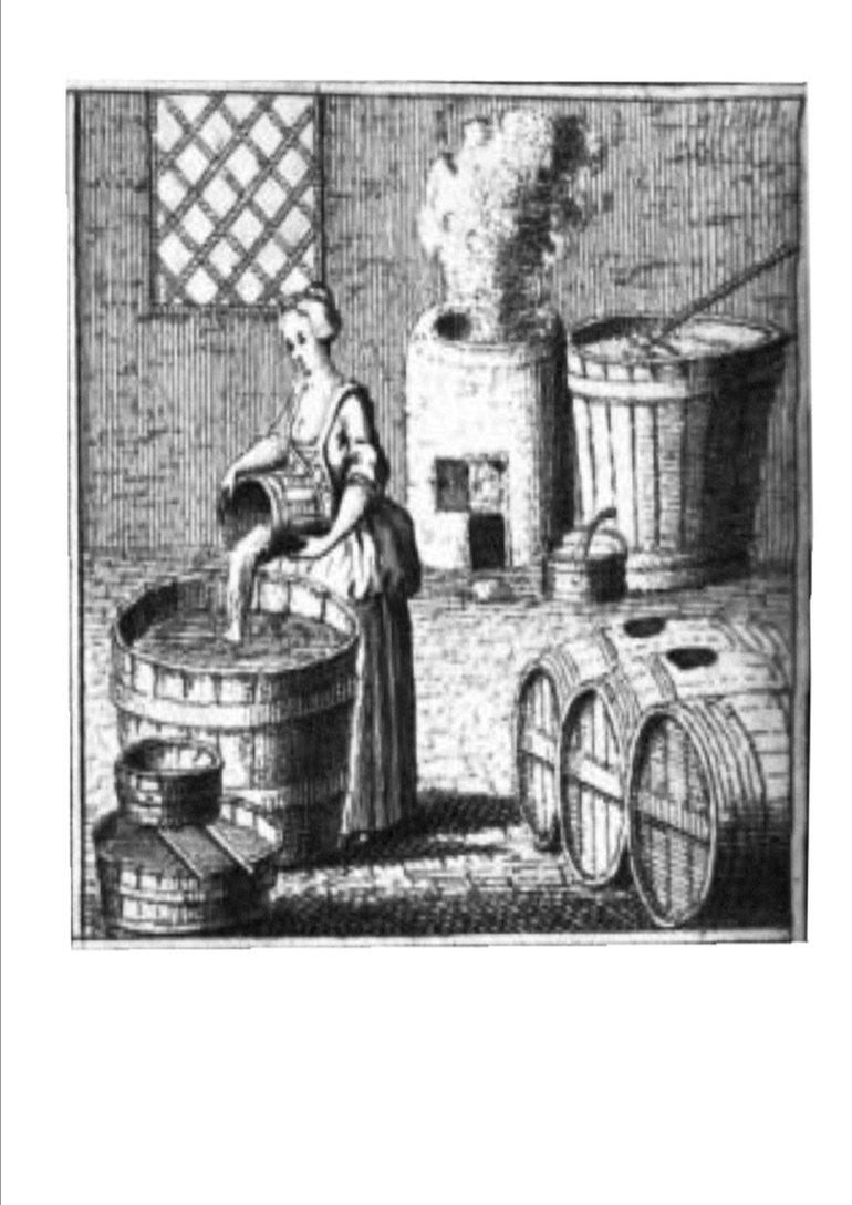 Woodcut of a brew house showing the housewife of her day brewing up drink for her family