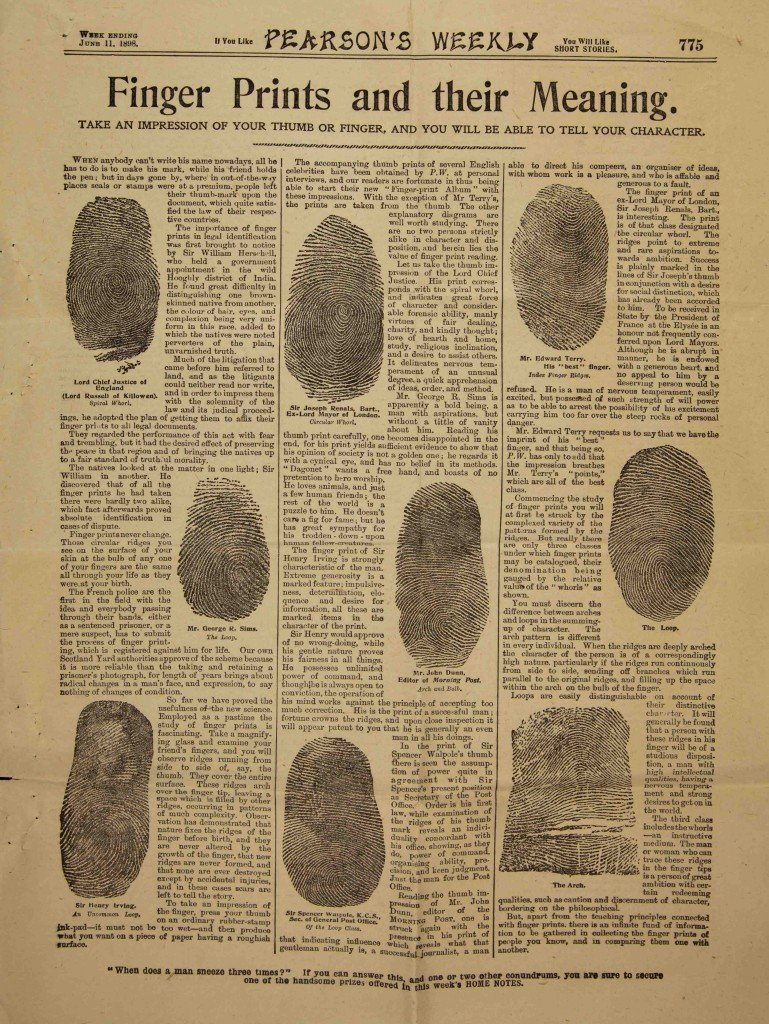 Article 'Finger Prints and their Meaning' by H. Onseley