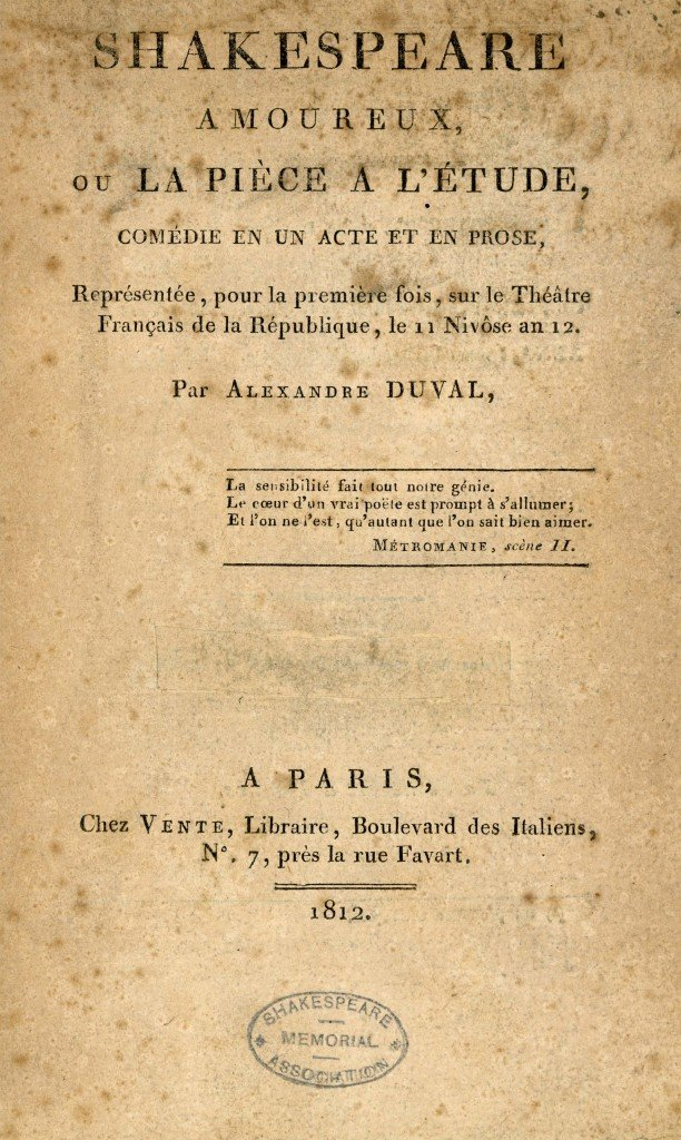 Title page from Shakespeare Amoureux by Alexandre Duval