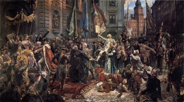 Jan Matejko's famous painting of King Stanisław August Poniatowski, members of the Grand Parliament and inhabitants of Warsaw entering St John's Cathedral in order to swear in the new national constitution  Photo: National Museum of Poland Catalogue