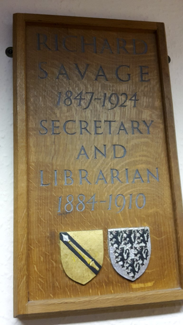 Plaque to Richard Savage in the Reading Room
