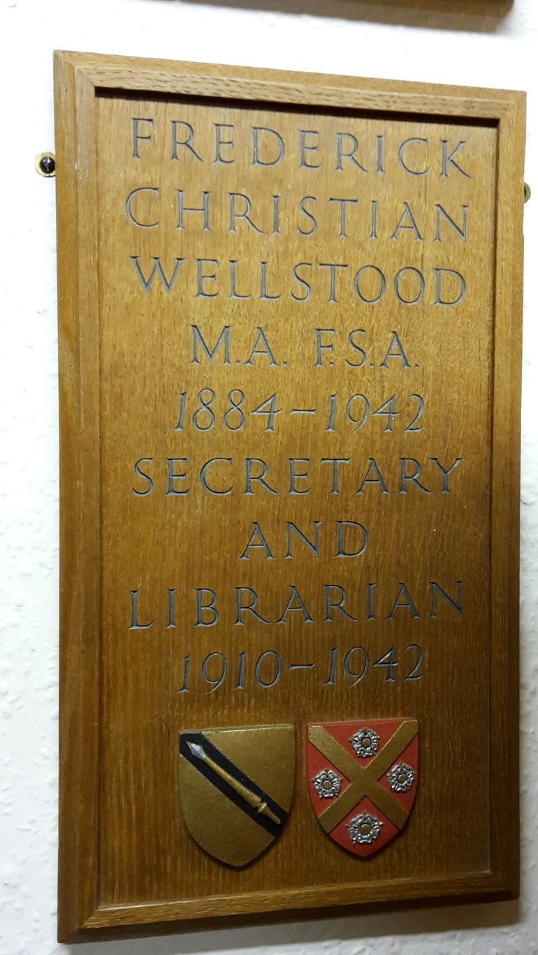 Plaque to F. C. Wellstood in the Reading Room