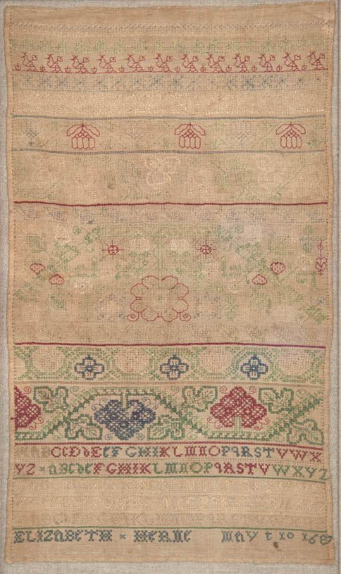 A rare James II embroidered band sampler, dated 1687