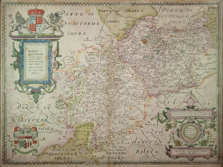 Saxton map of Warwickshire and Leicestershire