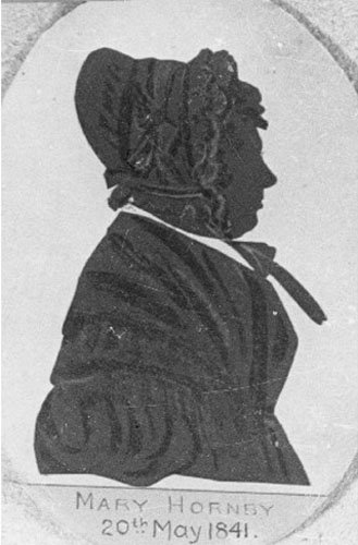 Silhouette portrait of Mary Hornby