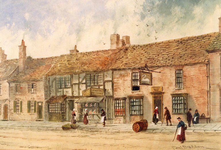1890 painting Birthplace and Swan and Maidenhead