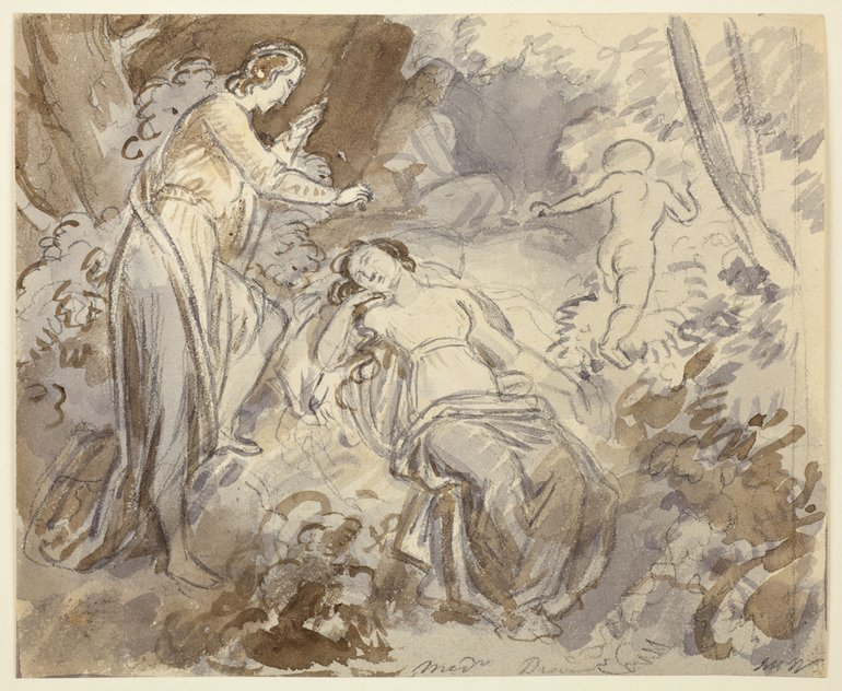 Pencil and wash drawing by John Masey Wright (1777-1866), MSND Act II scene 2