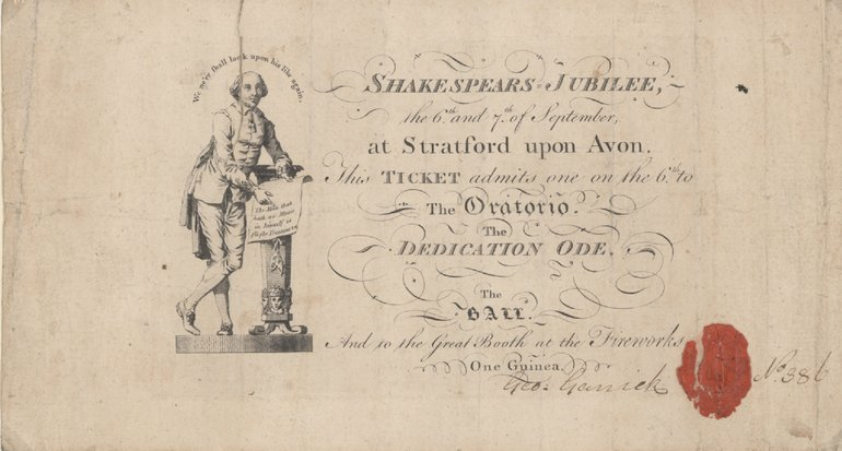 Ticket for Garrick Jubilee