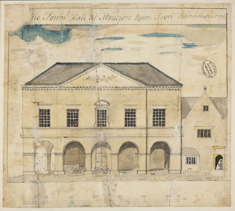 ER1/28/8/22 Stratford Town Hall, 1769 drawing from the Wheler collection