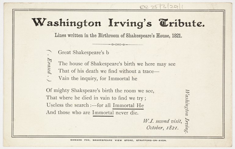 Washington Irving's Tribute