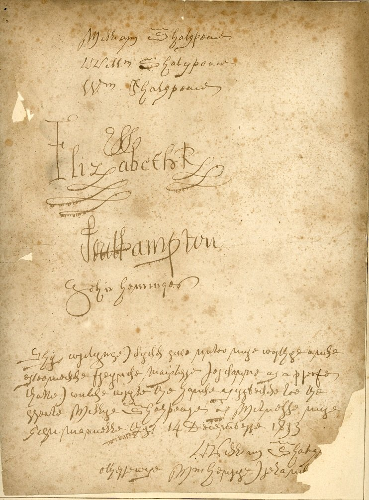 ER38 - A page of examples of forgeries of the signatures of Shakespeare, Queen Elizabeth I, the Earl of Southampton and John Heminges by William Henry Ireland
