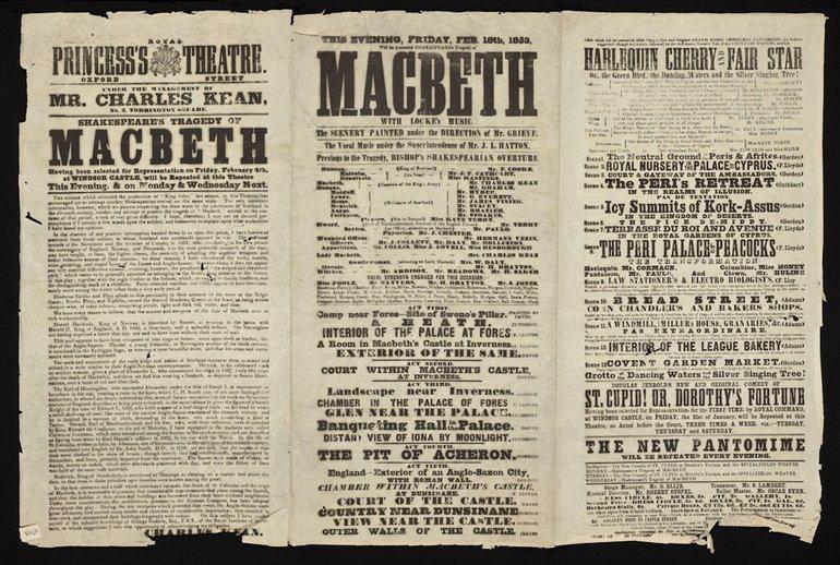 ML1/19/102 - Playbill (Shakespeare) Macbeth; Harlequin Cherry and Fair Star (Pantimime); Princess's Theatre, Oxford Street - 18/02/1853 - item