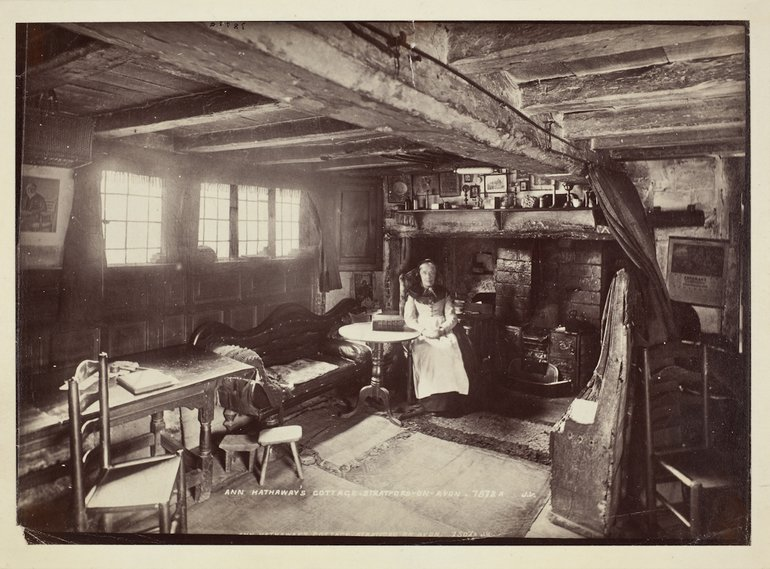Anne Hathaway's Cottage and Mary Baker, c. 1888